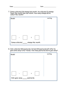 Subtraction Story Word Problems (Bar Models) - 1st Grade, 2nd Grade