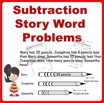 Subtraction Story Word Problems (Bar Models) - 1st Grade, 2nd Grade