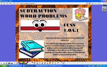 Subtraction Story Word Problems - CCSS 1.OA.1 - ActivInspire Flipchart