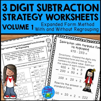 Subtraction Strategies Worksheets - 3 Digit Expanded Form Volume 1