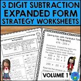 3 Digit Subtraction Strategies Worksheets - Expanded Form Method Volume 1