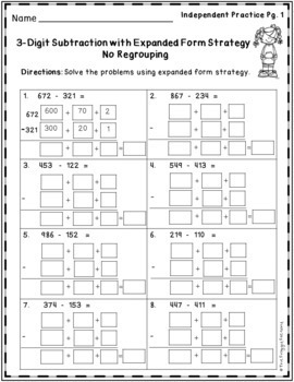 Subtraction Strategies Worksheets - Expanded Form FREEBIE