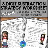 Subtraction Strategies Worksheets - Expanded Form Method FREEBIE