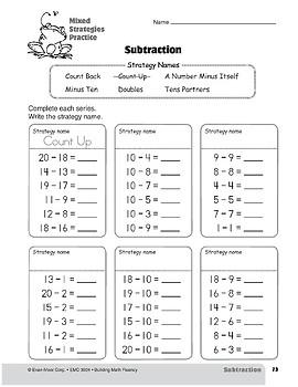 Subtraction Strategies, Grade 2: Mixed Strategies Practice