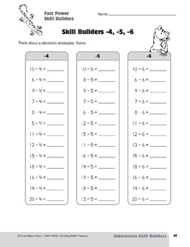 Subtraction Strategies, Grades 4-6+: Fact Power Skill Builders