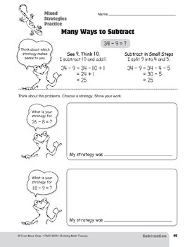 Subtraction Strategies, Grades 4-6+: Mixed Strategies Practice