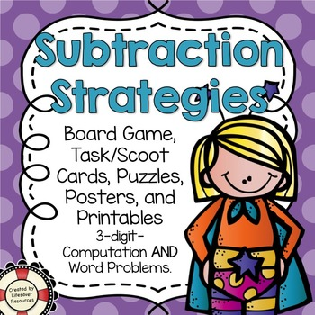 Subtraction Strategies Game, Puzzles, Posters, and Printables
