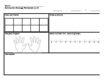 Subtraction Strategies Worksheet