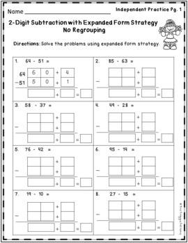 Subtraction Strategies Worksheets - 2 Digit Expanded Form Volume 2