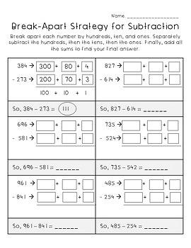 Subtraction Strategies Worksheets - Third Grade GoMath!