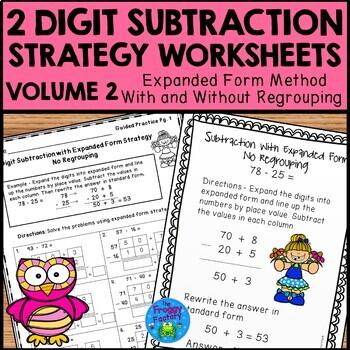 Subtraction Strategies Worksheets Expanded Form Bundle V. 2 #springintosavings