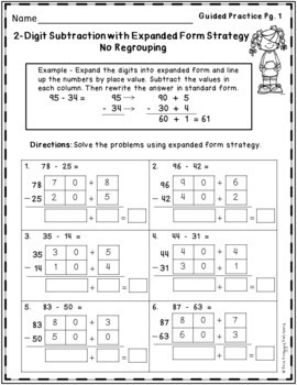 Subtraction Strategies Worksheets - Expanded Form Bundle by The ...