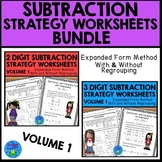 Subtraction Strategies Worksheets Expanded Form Method Bundle Vol. 1