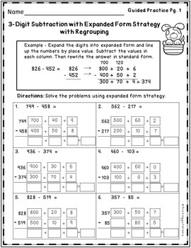 Subtraction Strategies Worksheets - 3 Digit Expanded Form Volume 2