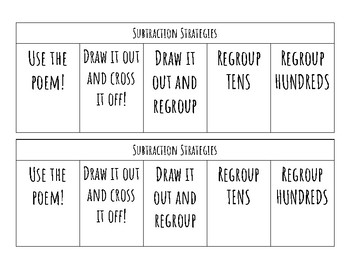 Subtraction Strategies foldable- 3-digit subtraction