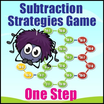 Subtraction Strategy Game for Basic Fact Practice & Number Fluency - One Step