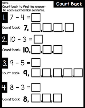 Subtraction Strategy Print and Go Packet