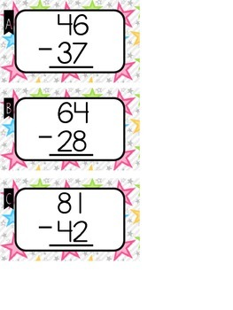 Subtraction Strategy for Regrouping - Circle, Ten, Lower Poster and Task Cards
