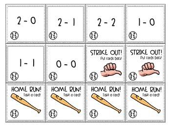 Subtraction Strike Out Baseball Themed Ink-Saving Game & Worksheet