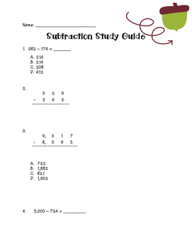 Subtraction Study Guide