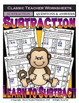 Subtraction-Vertical Form- How Many Are Left? Kindergarten - Grade 1 (1st Grade)