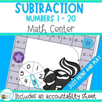 Subtraction - Subtraction to 20 Math Center