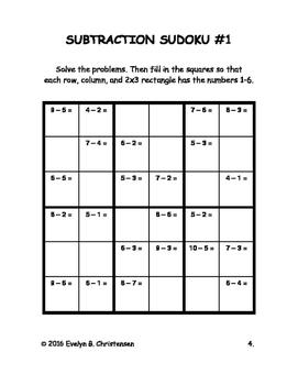 Subtraction Sudokus