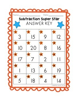 Subtraction Super Stars Challenge Edition + Bonus