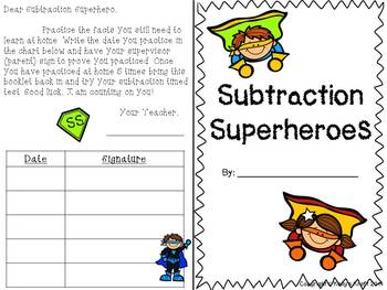 Subtraction Superheroes: Basic Fact Booklet
