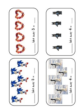Subtraction - Take Away cards