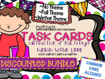 Subtraction Task Card Bundle 2: Fall, Winter, & No Theme Cards