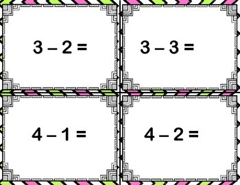 Subtraction Task Cards (1-10)