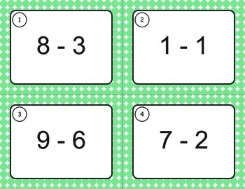 Subtraction Task Cards (1 digit by 1 digit)