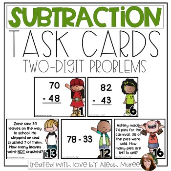 Subtraction Task Cards: 2 & 3 Digit Word Problems
