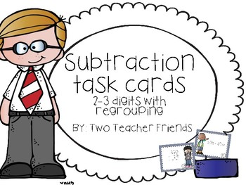 Subtraction Task Cards ~2-3 Digits with Regrouping~
