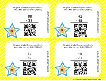 Subtraction Task Cards {QR Codes}: 2 Digit by 2 Digit With and Without Borrowing