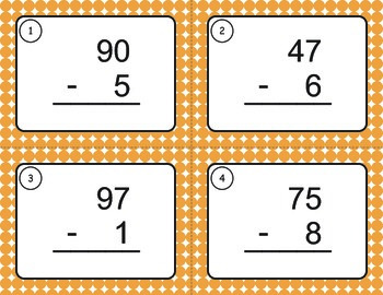 Subtraction Task Cards (2 digit by 1 digit)