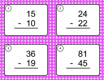 Subtraction Task Cards (2 digit by 2 digit)