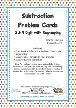 Subtraction Task Cards - 3 & 4 digit with Regrouping. Vertical Subtraction.
