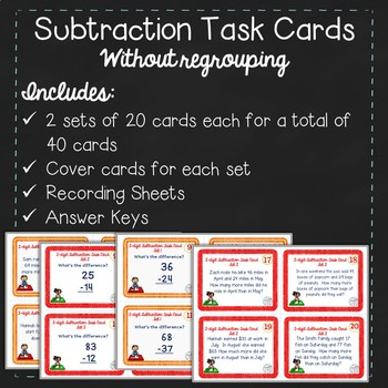 Subtraction Task Cards: Two-digit without Regrouping