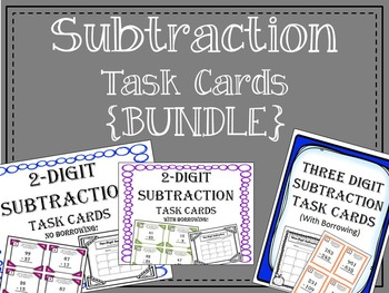 Subtraction Task Cards {Bundle} One Digit and Two Digit. Math Center