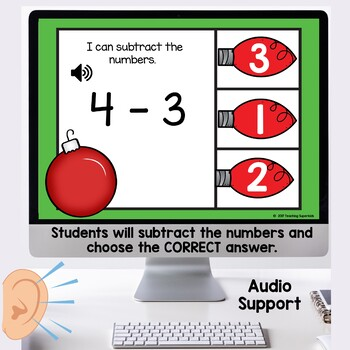 Subtraction Task Cards Christmas themed
