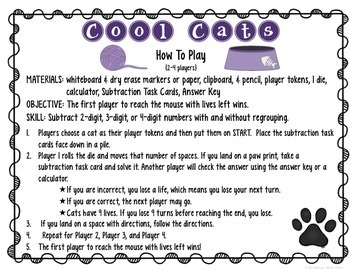 Subtraction Task Cards & File Folder Game {2, 3, and 4-digit Subtraction}
