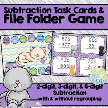 Subtraction Task Cards & File Folder Game {2, 3, and 4-dig