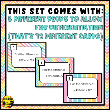 Subtraction Task Cards Grades 4-5
