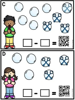 Subtraction The Room Bubbles  Minuends To 9  (QR Code Ready)