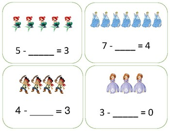 Subtraction Task Cards - Missing Subtrahend and Difference