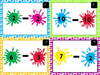 Subtraction Task Cards- Numbers 0-10