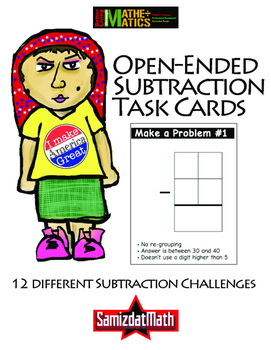 Subtraction Task Cards,  Open-Ended Problem Solving