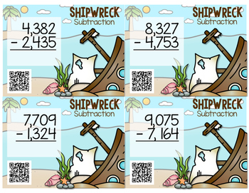 Subtraction Task Cards - Shipwreck Subtraction - Regrouping